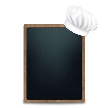 Black Chalk Board With Cook Cap With Gradient Mesh, Vector Illustration Vector