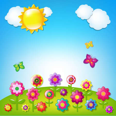 flower cartoon: Paisaje de dibujos animados con malla de degradado, ilustraci�n vectorial Vectores