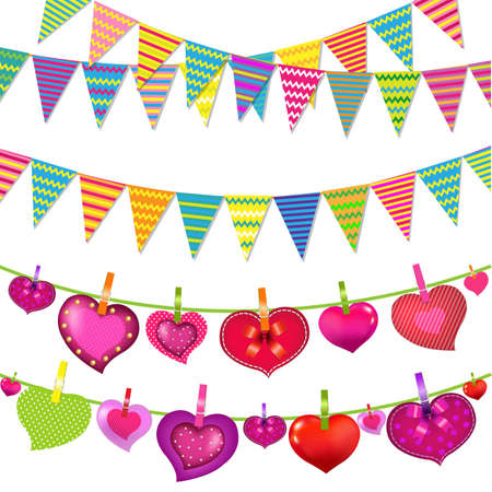 Garlands With Bunting Flags And Hearts, With Gradient Mesh, Vector Illustration Vector