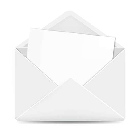 Open White Envelope With Paper With Gradient Mesh, Vector Illustration