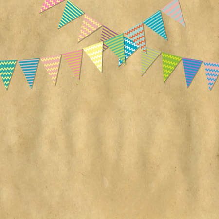 Vintage Paper And Bunting Flags, Vector Illustration  Vector