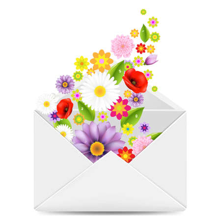 White Envelope With Flowers With Gradient Mesh, Vector Illustration Vector