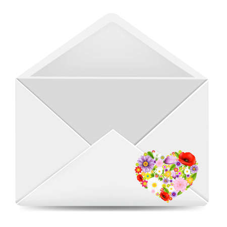 White Envelope With Flowers Heart With Gradient Mesh, Vector Illustration Vector