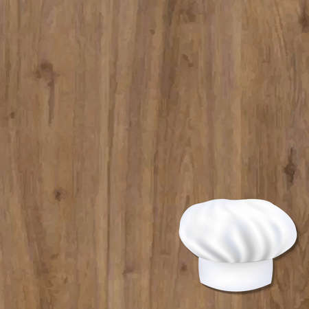 wooden vector mesh: Wooden Background With Cook Cap With Gradient Mesh, Vector Illustration