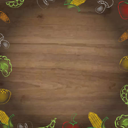 wooden vector mesh: Wooden Background With Drawn Vegetables, With Gradient Mesh, Vector Illustration