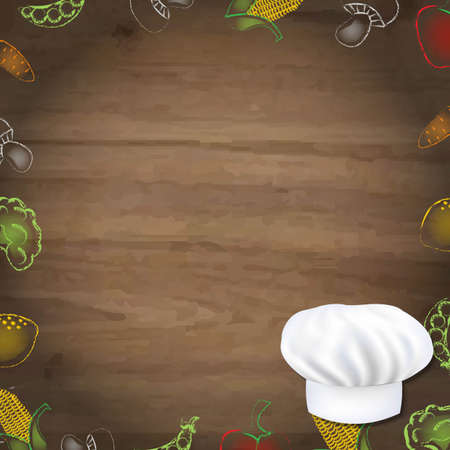 wooden vector mesh: Wooden Background With Drawn Vegetables And Cook Cap, With Gradient Mesh, Vector Illustration