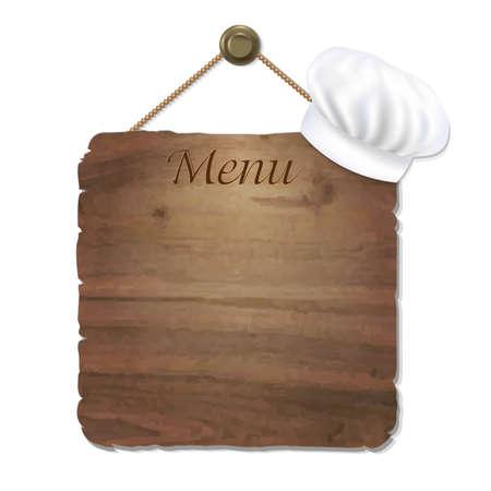 Sing Madera Con cocina el casquillo con malla de degradado, ilustración vectorial