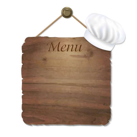 enumeration: Wooden Sing With Cook Cap With Gradient Mesh, Vector Illustration