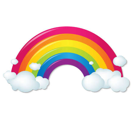 clouds cartoon: Color Rainbow With Clouds, With Gradient Mesh, Vector Illustration