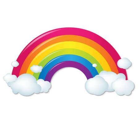 Farbe Regenbogen mit Wolken, mit Gradient Mesh, Vektor-Illustration Standard-Bild - 23117723
