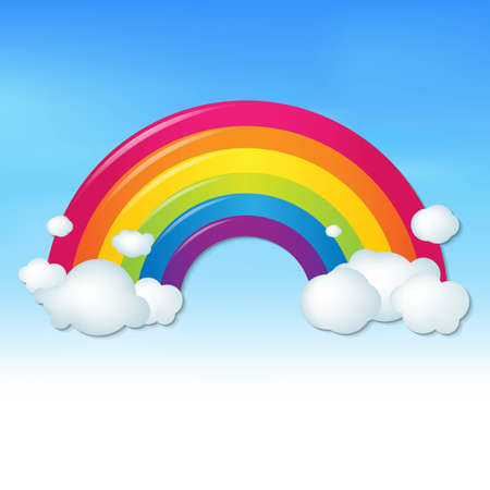 Color Rainbow With Clouds And Blue Sky, With Gradient Mesh, Vector Illustration Ilustração