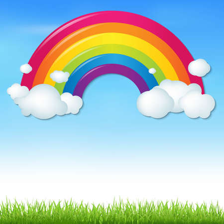 Color Rainbow With Clouds And Grass, With Gradient Mesh, Vector Illustration Vector
