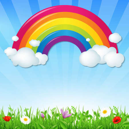 rainbow: Color Rainbow With Clouds Grass And Flowers, With Gradient Mesh, Vector Illustration