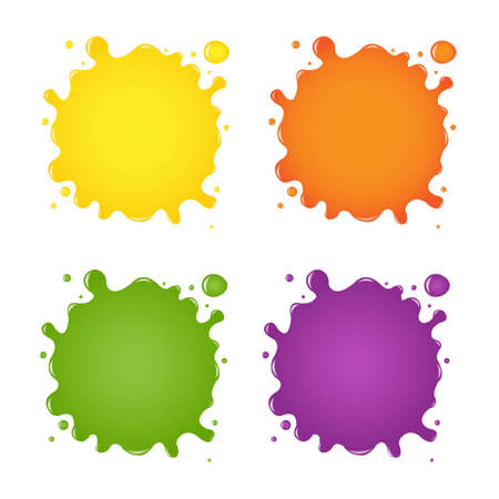 Set Of Color Blots, With Gradient Mesh, Vector Illustration