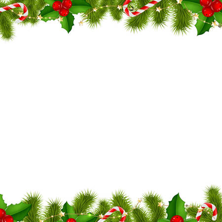 Border Fir Tree Branches Background, With Gradient Mesh, Vector Illustration