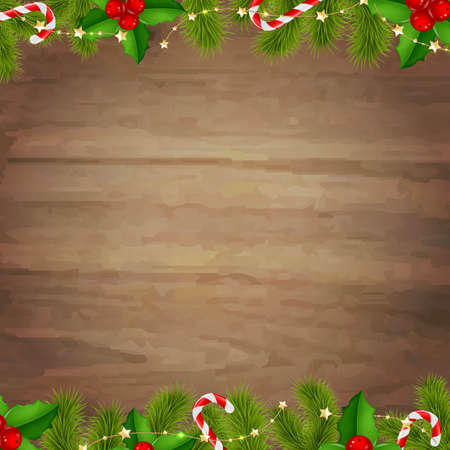 wooden vector mesh: Border Fir Tree Branches With Wooden Background, With Gradient Mesh, Vector Illustration