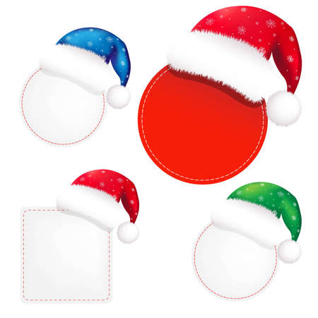 moroz: Christmas Banners Set With Color Santa Claus Cap, With Gradient Mesh, Vector Illustration