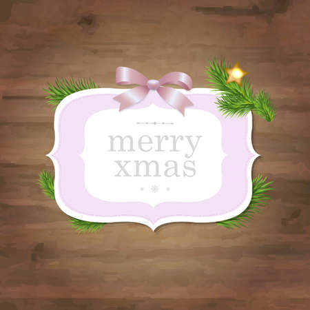 wooden vector mesh: Christmas Label With Pink Ribbon And Wooden , With Gradient Mesh, Vector Illustration