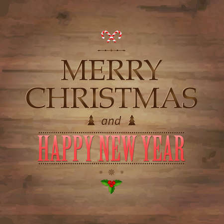 wooden vector mesh: Wooden Background With Drawn Christmas Text, With Gradient Mesh, Vector Illustration Illustration