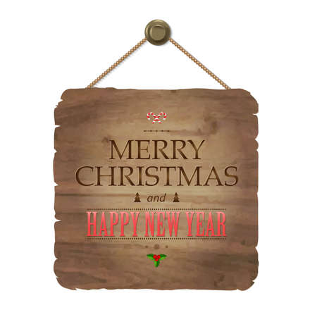 wooden vector mesh: Wooden Sing With Christmas Text, With Gradient Mesh, Vector Illustration