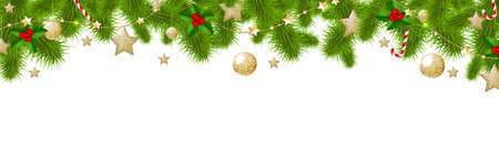 branch of a christmas tree: Xmas Border, With Gradient Mesh, Vector Illustration