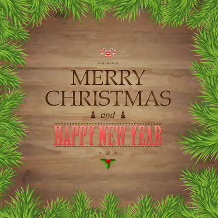 ded moroz: Fir Tree Branches And Christmas Text, With Gradient Mesh, Vector Illustration