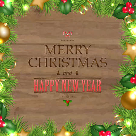 wooden vector mesh: Wooden Background With Christmas Text, With Gradient Mesh, Vector Illustration Illustration