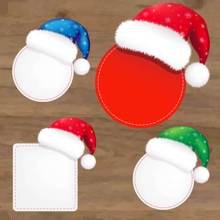 wooden vector mesh: Wooden Background With Santa Claus Caps, With Gradient Mesh, Vector Illustration