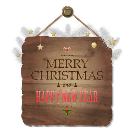 wooden vector mesh: Wooden Sing With Christmas Text, With Gradient Mesh, Vector Illustration  Illustration