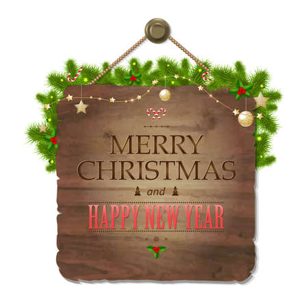 wooden vector mesh: Wooden Sing With Xmas Text, With Gradient Mesh, Vector Illustration