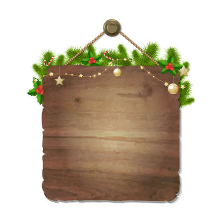 wooden vector mesh: Wooden Xmas Sing, With Gradient Mesh, Vector Illustration