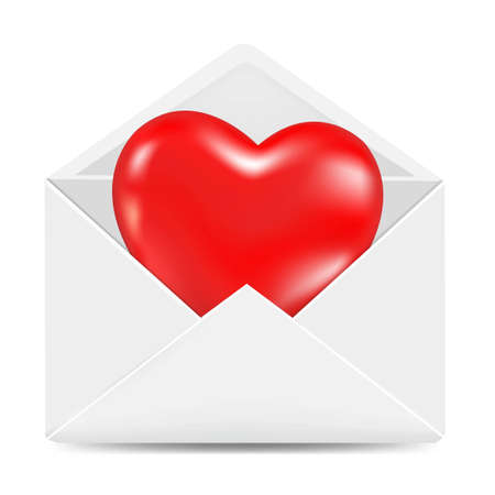 White Envelope With Red Heart, With Gradient Mesh, Vector Illustration Vector