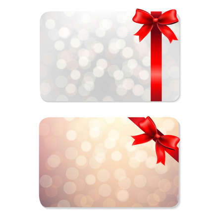 Bows And Blank Gift Tags, With Gradient Mesh, Vector Illustration Vector