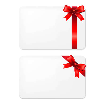 Red Bow And Blank Gift Tags, With Gradient Mesh, Vector Illustration 일러스트