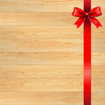 wooden vector mesh: Red Bow And Blank Gift Tag With Wooden Wall, With Gradient Mesh, Vector Illustration