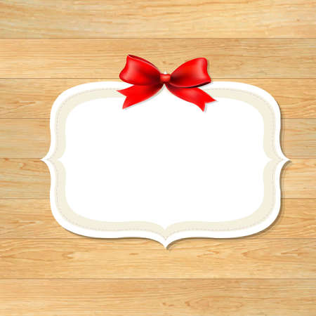 siding: Wood Wall With Red Bow, With Gradient Mesh, Vector Illustration