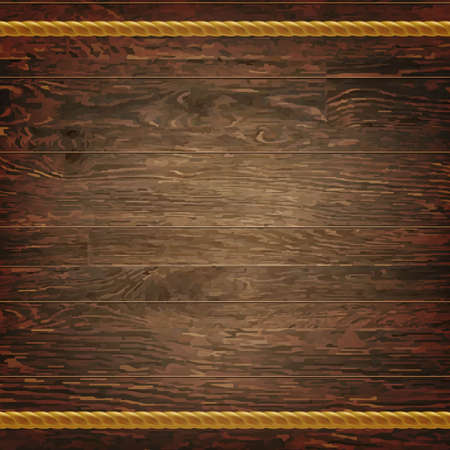 wood planks: Dark Wood Texture With Rope, With Gradient Mesh, Vector Illustration Illustration
