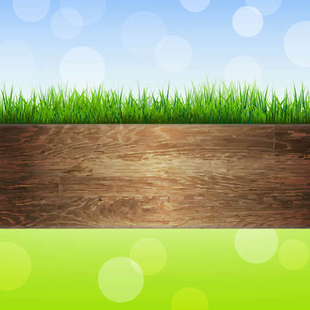 wooden vector mesh: Wooden Background With Grass, With Gradient Mesh, Vector Illustration