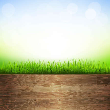 wooden vector mesh: Wooden Background With Grass Border, With Gradient Mesh, Vector Illustration Illustration