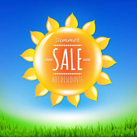 Summer Sale Banner With Sun, With Gradient Mesh, Vector Illustration Vector