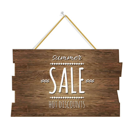 wooden vector mesh: Summer Sale Wooden Board, With Gradient Mesh, Vector Illustration
