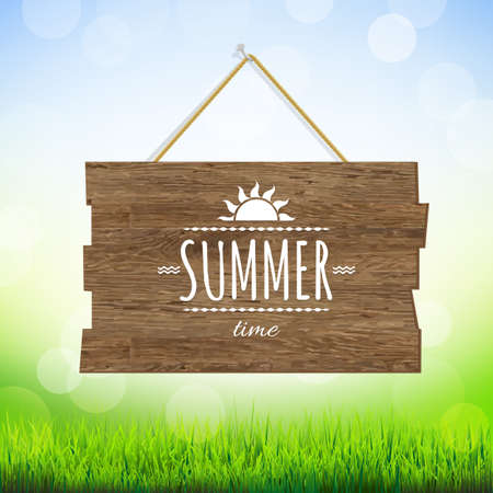 Summer Time Wood Board, With Gradient Mesh, Vector Illustration Vector