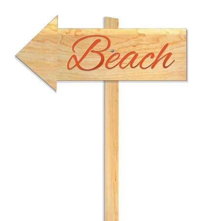 Beach Sign, Vector Illustration Vector
