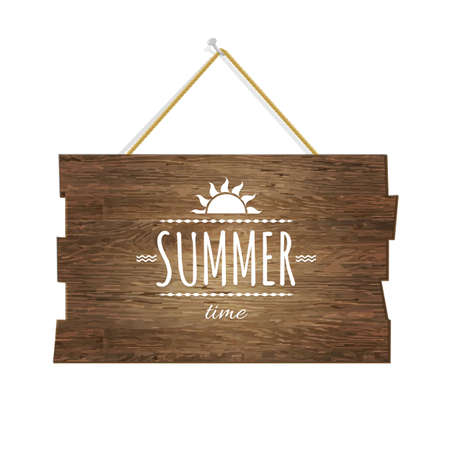 wooden vector mesh: Summer Time Wooden Board, With Gradient Mesh, Vector Illustration Illustration