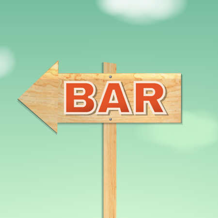 beach bar: Vintage Beach Bar Sign, With Gradient Mesh, Vector Illustration