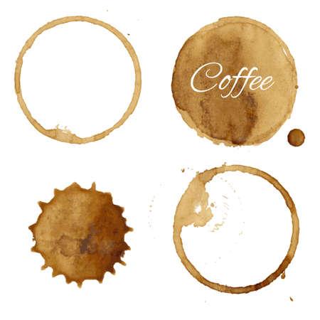 Koffievlekken Verzameling, Vector Illustratie
