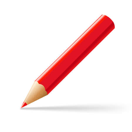 Red Pencil, With Gradient Mesh, Vector Illustration