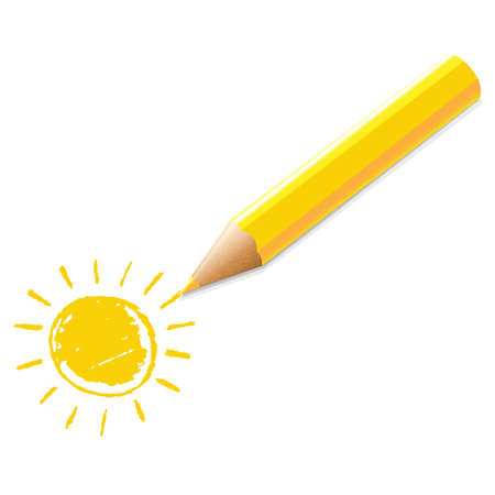 reviser: Crayon Jaune Avec Illustration Dessin