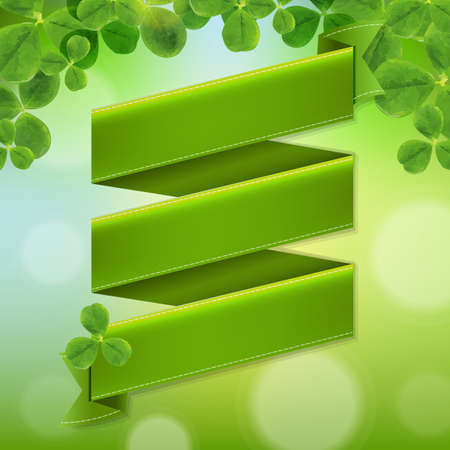 Green Ribbon Poster With Leaves, With Gradient Mesh, Vector Illustration Vector