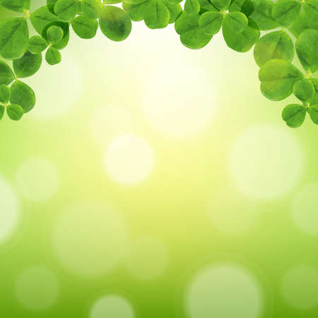 clover banner: Poster With Leaves, With Gradient Mesh, Vector Illustration Illustration